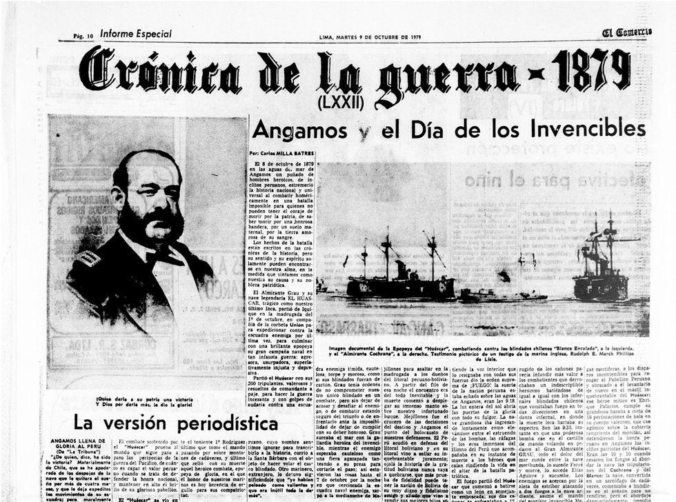 Edición del diario El Comercio informando sobre el combate de Angamos.