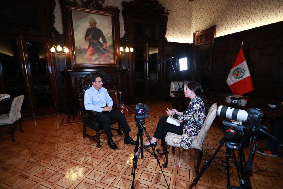 El presidente Martín Vizcarra brindó su primera entrevista a El Comercio tras la disolución del Congreso. (Foto: Lino Chipana / El Comercio)Lino Chipana