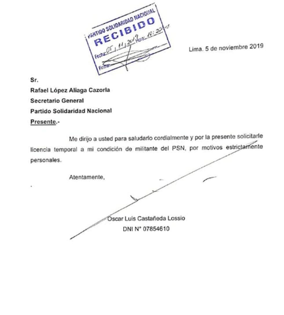 Carta de Luis Castañeda a su partido