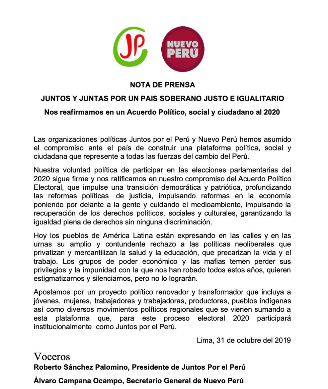 Juntos por el Perú decidió sumar a Nuevo Perú y dejar fuera de la ecuación a Perú Libre.