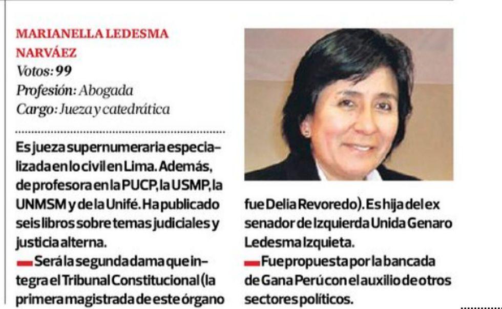 Esta es la ficha que el diario El Comercio publicó cuando Ledesma fue elegida integrante del TC en mayo de 2014