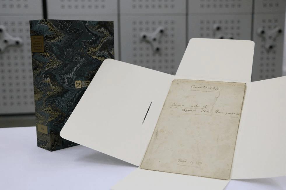 Este es el manuscrito de César Vallejo que retornó a Perú y es resguardado por la BNP. (Foto: BNP)