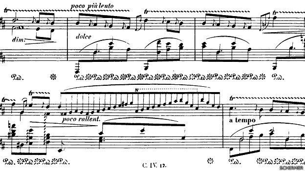 Extracto de Chopin Nocturno op. 62 no. 1, publicada por Schirmer, Nueva York, 1881, que muestra la notación musical característica del romántico músico.